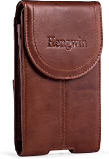 Belt Clip Holster Pouch Hengwin Genuine Leather Phone Case Holster with Magnetic Closure Purse Belt Loop Pouch Bag Compatible for iPhone XR 7 8 Plus Samsung S8 Plus +Keyring(Brown)