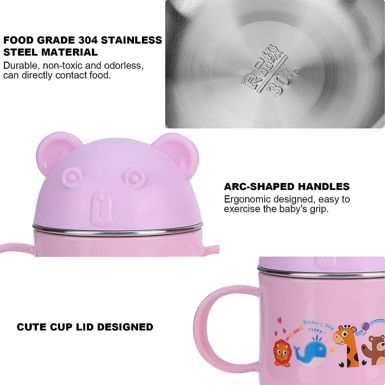 Pink per Bambini Piccoli Posate in Acciaio Inossidabile infrangibili per lavastoviglie Cerlingwee Ciotola per Bambini