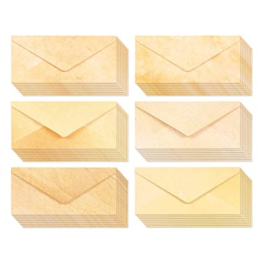 48-Pack Vintage Envelopes, Aged Antique Stationery Classic Envelope for Standard Letter, Printer Friendly for Themed Party & Wedding Invitations, 8.7 x 4 Inches