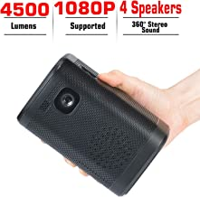 Projector Portable 4500 Lumens DLP 1080P Supported Video Projector Audio 200