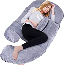 BATTOP Full Body Pregnancy Pillow G-Shaped Maternity Pillow Removable for Sleeping with Nursing Baby Design Support for Back Belly Hips Legs (Dark Gray)