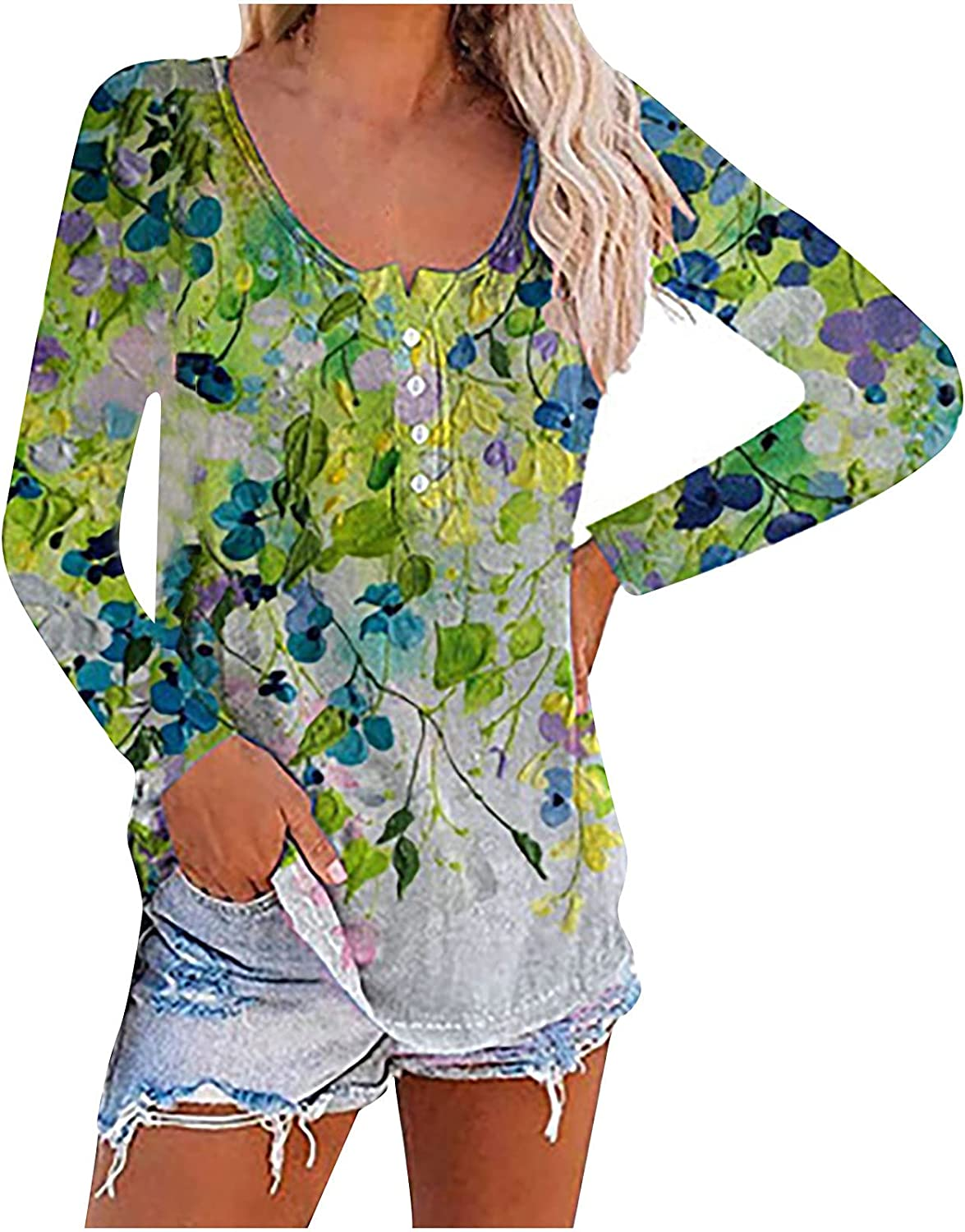 Floral Shirts for Women Long Sleeves, Womans Flower Loose T-Shirt Blouses, Ladies 1/4 Button up Crew Neck Tunic Tops