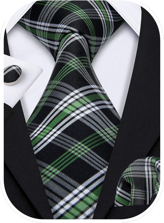 Barry.Wang Designer Classic Ties for Men Set Formal Pocket Square Cufflink Check Plaid