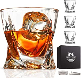 Whiskey Glass Set of 4 - Crystal Clear Twist Scotch Glasses 10 oz Lead-Free Glassware with Luxury Gift Box & 4 Drink Coasters & 1 Ice Tong for Drinking Bourbon Malt Cognac Irish Whisky