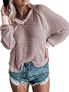 Yobecho Womens Distressed Lightweight Sweater V Neck Bat Wing Sleeves Knit Top Pullover