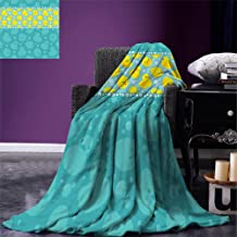 smallbeefly Rubber Duck Throw Blanket Yellow Cartoon Duckies Swimming in Water Pattern with Fun Bubbles Aqua Colors Warm Microfiber All Season Blanket for Bed or Couch Teal Blue
