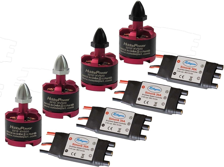 Rcmodelpart 2212 920KV Brushless Motor + SimonK 30A ESC for DJI F450 S500 Quadcopter (pack of 4 pcs)