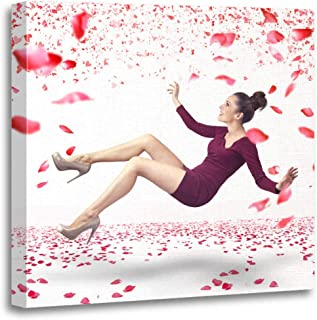 Semtomn Canvas Wall Art Print Woman Attractive Lady Falling Down Over Rose Petals Fly Artwork for Home Decor 16 x 16 Inches