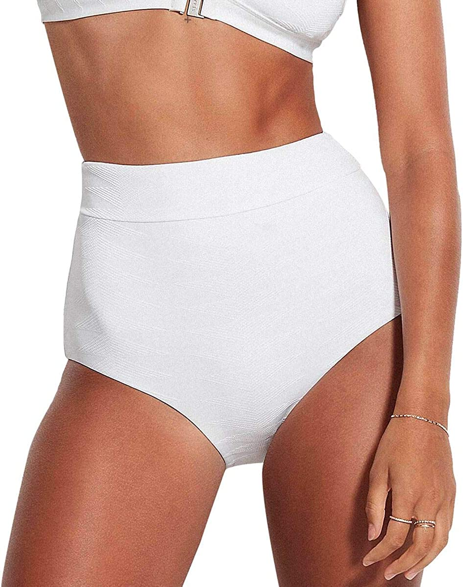Seafolly Women's High Waisted Bikini Bottom Swimsuit with Full Coverage