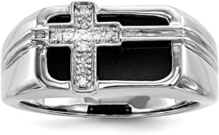 925 Sterling Silver Diamond Black Onyx Cross Religious Mens Band Ring Man Fine Jewelry Dad Mens Gift Set