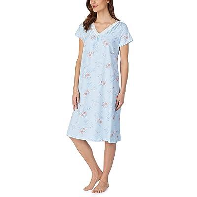Carole Hochman Soft Jersey Short Sleeve Waltz Gown (Aqua Floral) Women