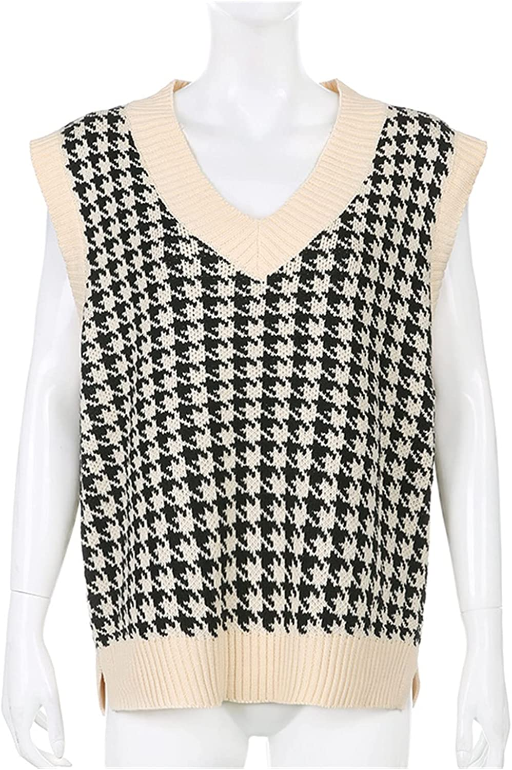 PJRYC Knitted Oversized Sweater Vest Female College Wind Jumper V-Neck Casual Loose Knitwear Autumn (Color : Khaki Black, Size : Small)