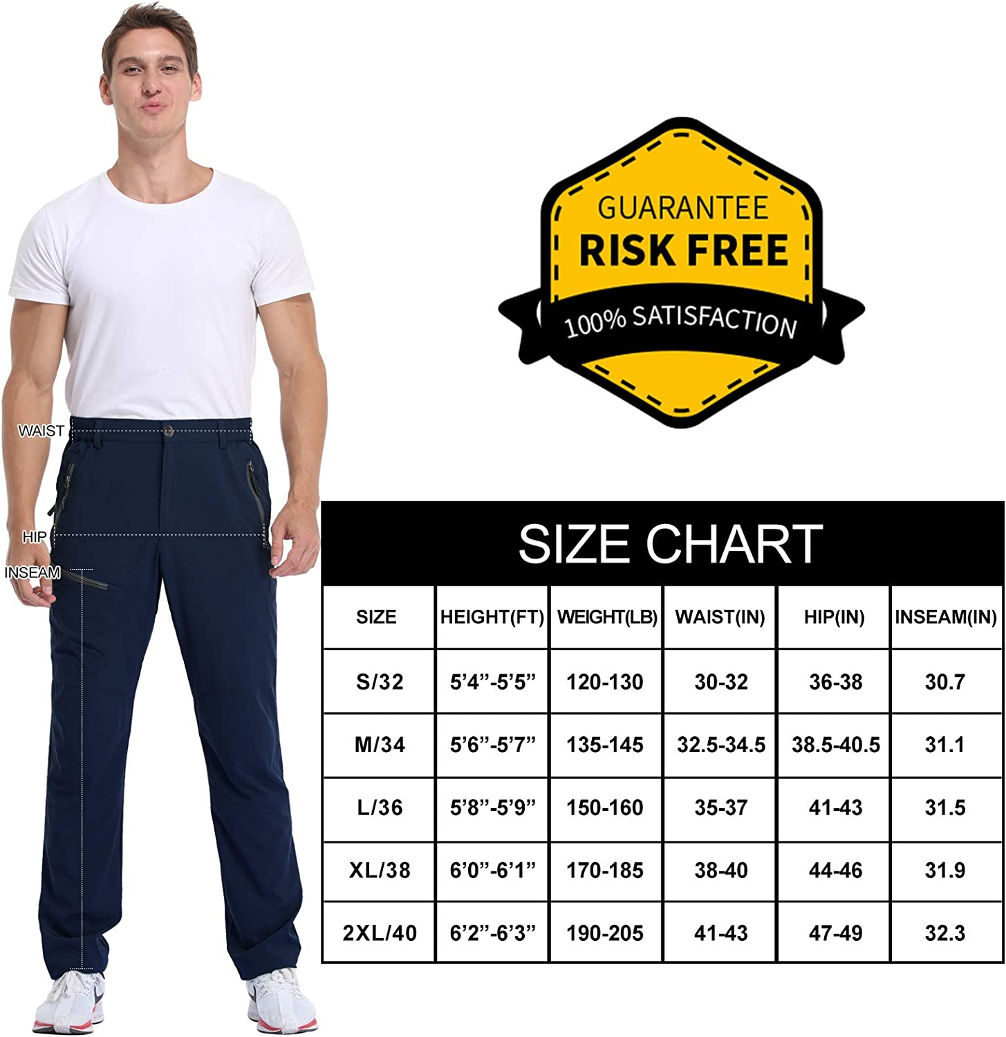 MOCOLY Mens Hiking Cargo Pants Outdoor Lightweight Quick Dry Water Resistant UPF 50 Long Pants with Zipper Pockets