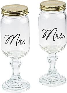 Mr. & Mrs. Glass Mason Jar Goblets (2 Pcs. Per Set) 9 1/4