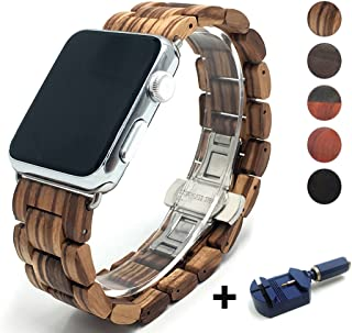 Seoaura Compatible Apple Watch Band 38mm 40mm, Natural Handmade Wooden Replacement iWatch Series 5 4 3 2 1 Sports Strap Wristband - Link Remover as a Gift (Zebrawood, 38mm/40mm)