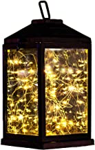 Solar Lantern Lights Metal Sunwind with 30 Warm White LEDs Fairy String Lights Outdoor Decorative Table Lamp (Black-11.4