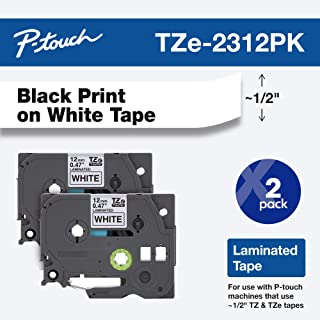 "Brother Genuine P-touch, TZE2312PK, 1/2"" (0.47"") Standard Laminated P-Touch Tape, Black on White, Laminated for Indoor or Outdoor Use, Water Resistant, 26.2 Feet (8M), 2-Pack"