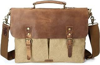 SGJFZD Retro Crazy Horseskin Bag Crossbody Men's Shoulder Bag Canvas Bag Laptop Bag (Color : Beige, Size : M)