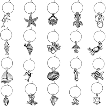 50 Piece Beach Themed Wine Glass Charms with 50 Pieces Hanging Rings and 2 Pieces Buckles for Wine Tasting Party Decoration Supplies, 102 Pieces Totally