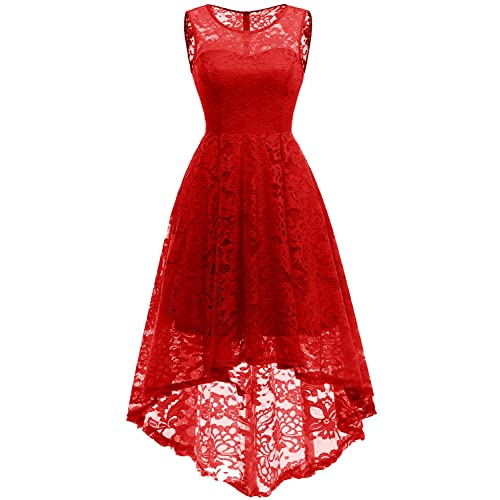 5f6dc389159 MUADRESS Women s Vintage Floral Lace Sleeveless Hi-Lo Cocktail Formal Swing  Dress