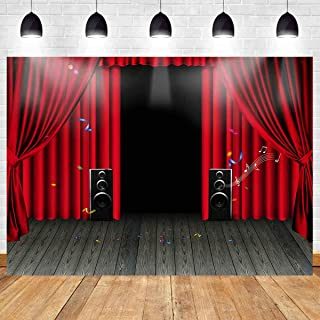 MEETS 7x5ft Concert Stage Karaoke Backdrop Red Curtain Acoustics Wood Floor Picture Birthday Party Photo Video Studio Prop Background LETS013
