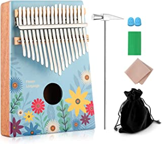 $34 » Kalimba 17 key Thumb Piano Finger Piano with Cloth Tuning Kit Hammer, Study Instruction Song Book, Hot Gift for Christmas 2018 Birthday Gifts for Kids, Children, Girlfriend (Full Bloom)