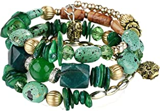 Bohemian Bracelet, African Gemstone Beaded Bracelet Stack, Boho Chic Bracelet, Hippie Bracelet, Hippie Chic Stack Bracelets for Women (Green)