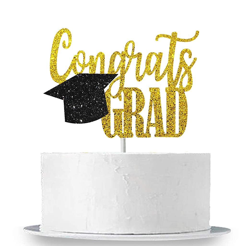 Congrats Grad Cake Topper for Grad Party - Real Black and Gold Glitter | Graduation Party Cake Toppers 2019 - Graduation Cap Cake Topper Decorations | Graduation Party Supplies 2019 | Large Size