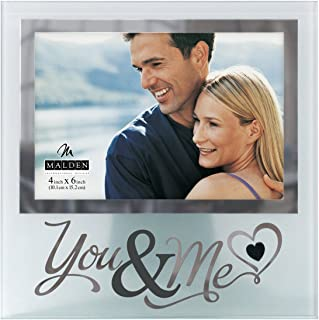 Malden International Designs Wedding You and Me Frosted and Mirrored Glass Picture Frame, 4x6, Clear