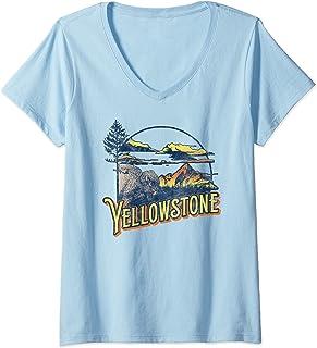 Femme Vintage Yellowstone National Park Retro 80's Style Graphic T-Shirt avec Col en V
