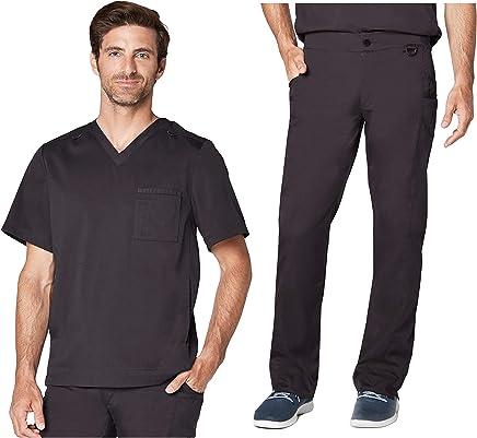 Adar Responsive Scrub Set for Men - Active V-Neck Scrub Top & Easy Fit Tech Scrub Pants