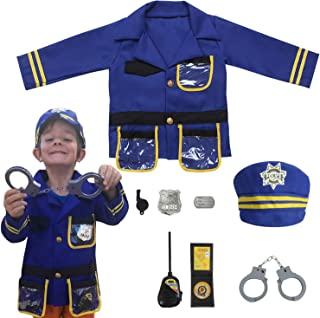 Kids Police Officer Costume Set 8Pcs Policeman Role Play Costume Set for Halloween Christmas Dress up (Ages 3-6yrs) Blue