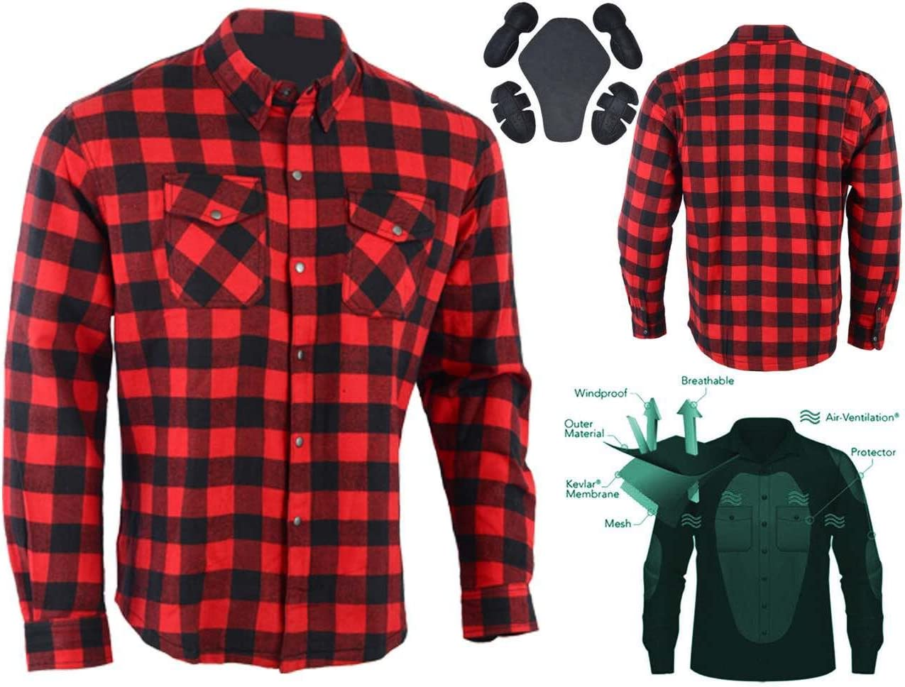 Australian Bikers Gear camisa de cuadros roja/negro en Kevlar ...