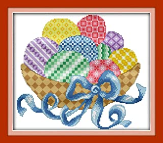 YEESAM ART New Cross Stitch Kits Advanced Patterns for Beginners Kids Adults - Easter Colorful Eggs - DIY Needlework Wedding Christmas Gifts (Easter Eggs, Stamped)