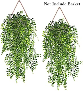 Hukidoy Artificial Plants Vines Fake Hanging Ivy Decor Plastic Greenery for Wall Indoor Outdoor Hanging Baskets Wedding Garland Decor (Pack of 2)