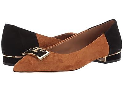 Tory Burch 20 mm Gigi Pointy Toe Flat (Dark Tiramisu/Perfect Black) Women