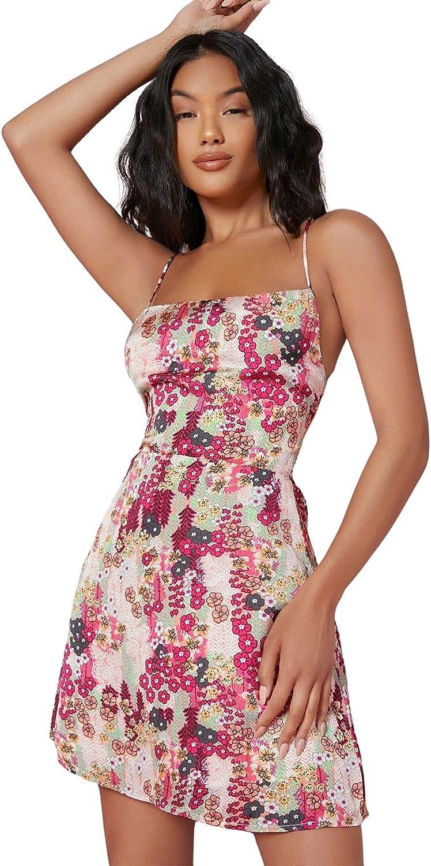 SheIn Women's Sleeveless Floral Criss Cross Tie Backless Satin Short Cami Dress