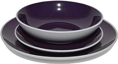HomeVss Stoneware Coupe 18pc Dinner Set, Outside White + Inside Purple