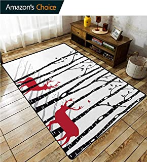 Antlers Novelty Bath Rugs, Deer Tree Forest with Red Holiday Theme Flying Leaves Branch Reindeer, Durable Carpet Area rug - Living Dinning Room Bedroom Rugs and Carpets(6'x 9') Red Black Grey White