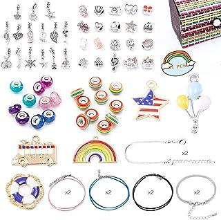 VEGCOO Bracelet Fille - 71 PCS Kit de Fabrication de Bracelet, Loisirs Creatifs Cadeau Fille 8 à 12 Ans, Perles de Breloqu...