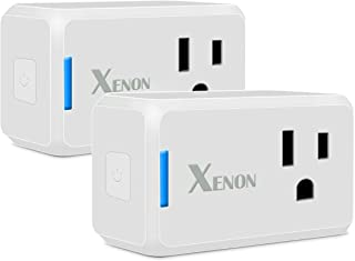 Xenon Mini WiFi Smart Plug, Wi-Fi, Works with Alexa, Only Occupies one Socket,No Hub Required, Timer Plug, Remote Control Your Devices from Anywhere, Wall-Light, Electronic-Component-switches, 2-Pack