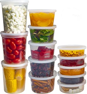 DuraHome Food Storage Containers with Lids 8oz, 16oz, 32oz Freezer Deli Cups Combo Pack, 44 Sets BPA-Free Leakproof Round ...