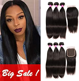 QinMei Brazilian Straight Hair 3 Bundles With Closure 4×4 Lace Closure With Bundles 100% Unprocessed Virgin Straight Human Hair Extensions Swiss Closure Weave Weft Natural Color (12 14 16 +10 Closure)