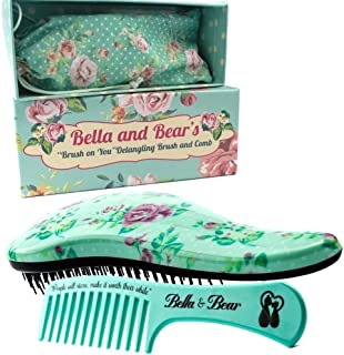 Detangling Hair Brush and Comb Set, the Best Detangler Brush for Wet or Dry Hair, no more tangles, no more tears by Bella & Bear
