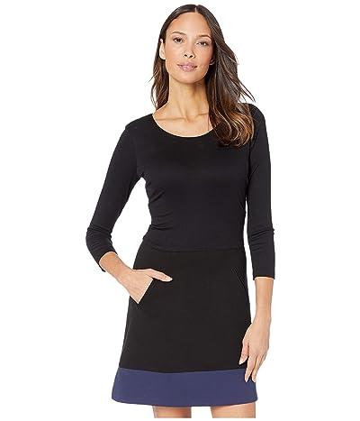 Nicole Miller Ponte Scoop Neck Dress (Black Navy) Women
