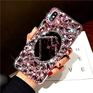 Diamond Case for iPhone XS/X Cover,3D Handmade Bling Rhinestone Diamonds Luxury Sparkle Mirror Case Girls Women Full Crystals Bling Diamond Soft TPU Bumper Case Cover for iPhone XS/X Mirror Case,Pink