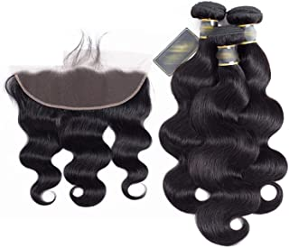 Hair 4 Pcs Body Wave 100% Human Hair Bundles With Lace Frontal Closure Non Remy Natural Color Hair Extension,18 18 18With18,Free Part