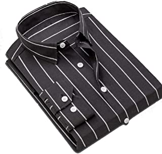 Comaba Men Stripe Non-Iron Cotton Business Buttoned Long-Sleeve T-Shirt
