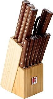 Bergner Nature Set de 11 Cuchillos, Tijeras y Tacoma, Acero Inoxidable, Marrón, 36 cm