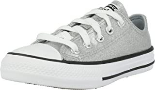 Converse Chuck Taylor All Star Ox Coated Glitter Gris/Noir (Wolf Grey/Black) Synthétique Ado Formateurs Chaussures